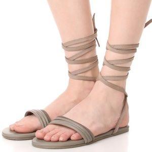 Make Offer Tkees Olly Ankle Wrap Sandal Gray 8